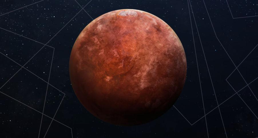 Marte apresenta óxido de ferro em sua superfície, o que lhe confere a cor avermelhada.