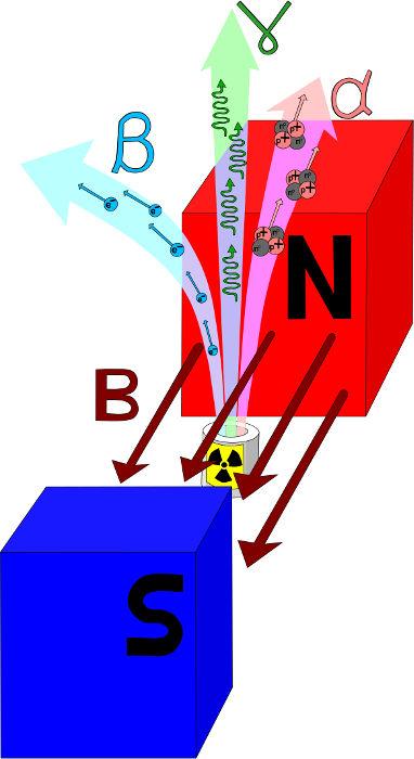 Por não apresentarem carga elétrica, os raios gama não são defletidos pelo campo magnético.