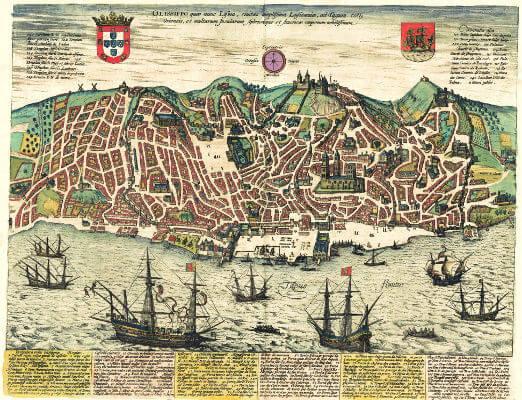 Mapa de Lisboa de 1598 mostra o delineado das ruas da cidade. A Lisboa de antes do terremoto era desorganizada e tinha ruas estreitas e sinuosas.**