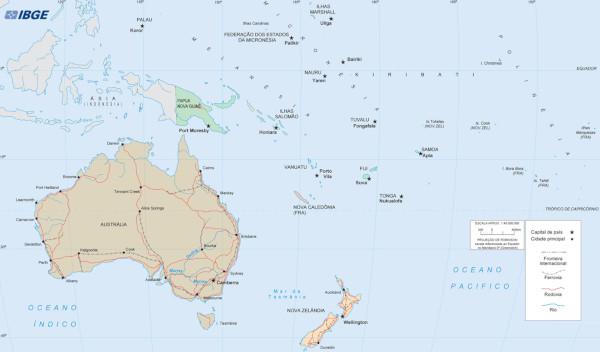 Os países que formam a Oceania estão localizados entre os oceanos Pacífico e Índico, na zona intertropical e temperada do sul. (Fonte: IBGE)
