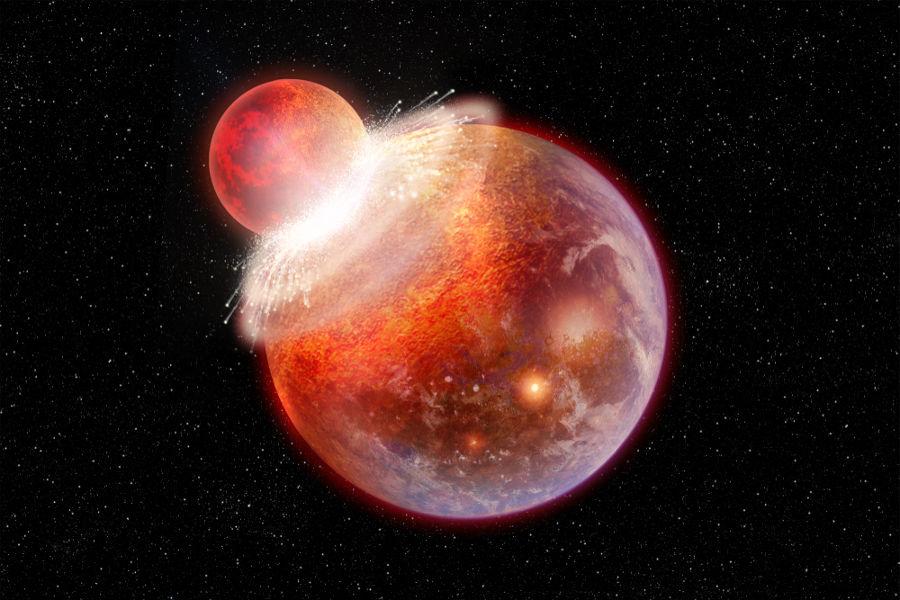 Um grande objeto de tamanho similar ao de Marte colidiu com a Terra, dando origem à Lua.