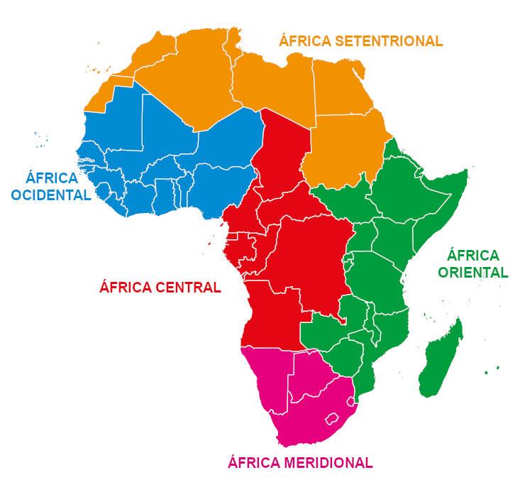A África divide-se em cinco grandes regiões.