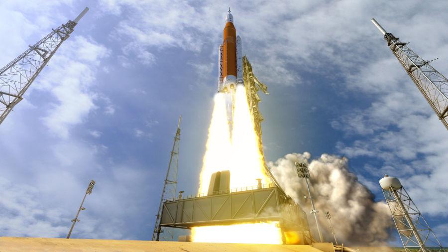 Concepção artística do foguete SLS.