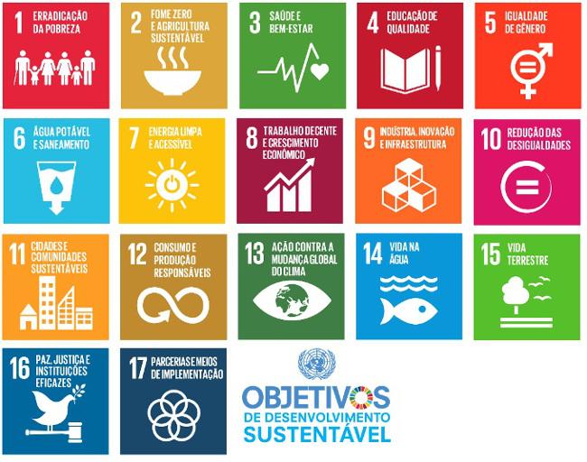 17 Objetivos de Desenvolvimento Sustentável (ODS) da ONU [1].