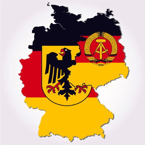 Após a Segunda Guerra Mundial, a Alemanha foi dividida em RFA (à esquerda) e RDA (à direita).