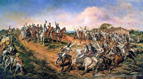 Em 7 de setembro, às margens do rio Ipiranga, foi declarada a independência do Brasil.[1]