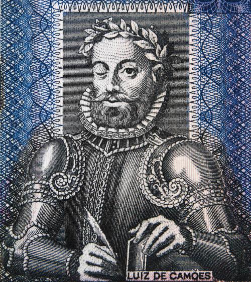 Retrato de Camões em cédula de 50 escudos angolanos.
