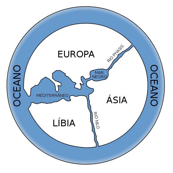 Reconstrução contemporânea aproximada do mapa-múndi desenvolvido por Anaximandro.